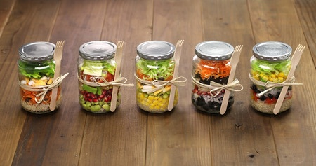37449217 - homemade healthy salad in glass jar