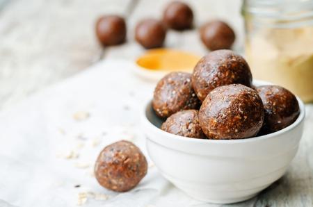 45670654 - raw vegan peanut butter oat coconut cacao balls