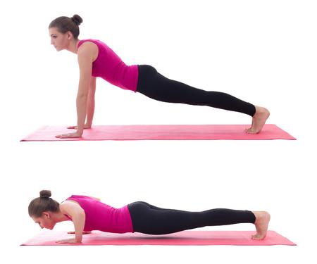 46344473 - sport concept, push up instruction - beautiful woman doing push up exercise on yoga mat isolated on white background