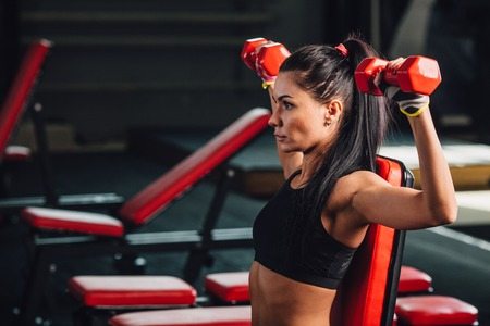 55578320 - young sporty woman doing exercises with dumbbells in the gym, dumbbell bench press